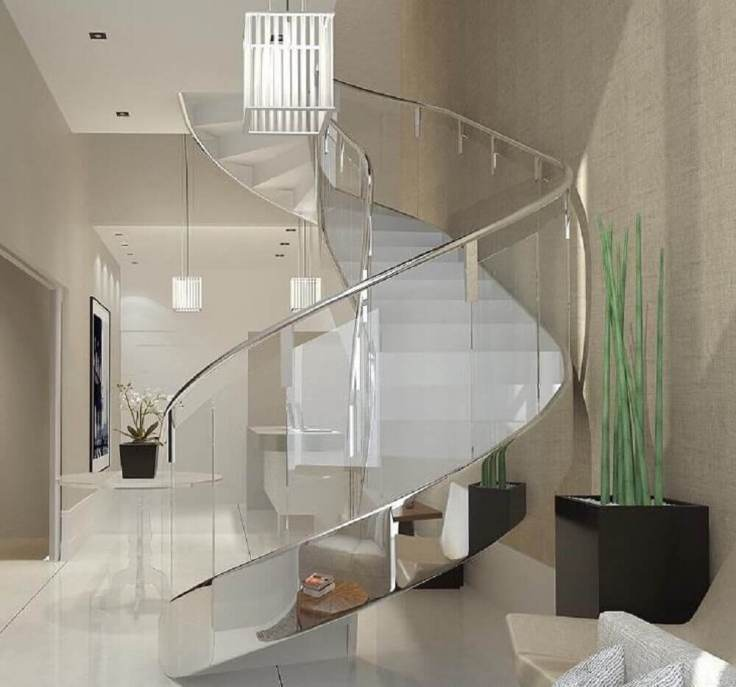 decoração-moderna-com-corrimão-de-inox-para-escada-branca-com-guarda-corpo-de-vidro