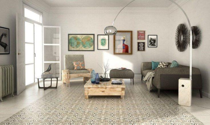 decoração-sala-de-estar-com-piso-hidráulico